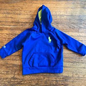 Ralph Lauren bright blue toddler logo hoodie.